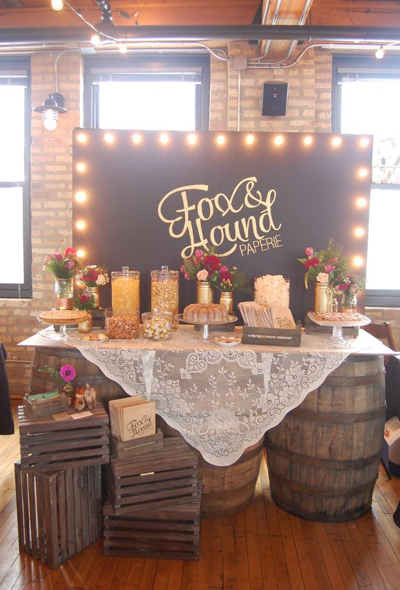 Whiskey Barrel Table Whiskey Barrels And Wedding Candy On