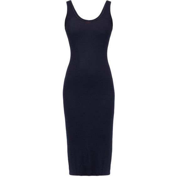 Enza Costa Ink Rib Midi Tank Dress (€88) ❤ liked on Polyvore featuring dresses, navy, ribbed tank dress, navy blue dress, fitted dresses, blue tank dress and navy midi dress