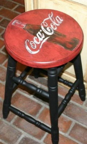 Painted Coca-Cola counter stool. I'm putting this on my DIY list to paint!