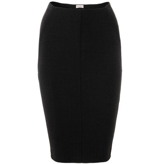 Brunello Cucinelli Anthra Black Virgin Wool Skirt .. veryeickhoff.com