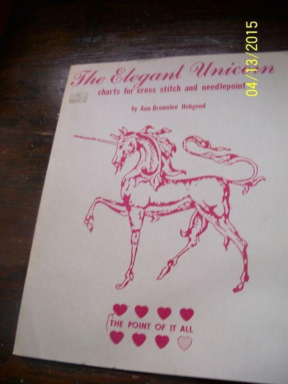 VTG Unicorn pattern chart Leaflet cross stitch needlepoint The Point of it All