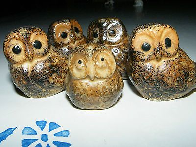 Beautiful Vintage Miniature Owl Family Pottery Figurines Lot of 5 Napco Japan | eBay