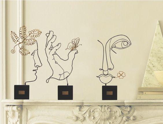 Timidezze Neoclassiche, sculture in filo di metallo http://www.design-miss.com/timidezze-neoclassiche-sculture-in-filo-di-metallo/ Timidezze Neoclassiche è la nuova linea di #sculture da tavolo e da parete realizzate in filo di metallo modellato a mano