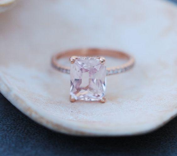Blake Lively ring Peach Sapphire Engagement Ring by EidelPrecious