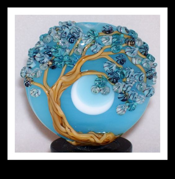 Floral Flower Tree lampwork bead by Molly Cooley Wind Swept Tree Glass Art