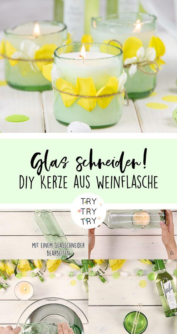 Zwei Geschenke für Ostern: Frühlingskerze und Blumenvase aus Blanchet Weinflaschen