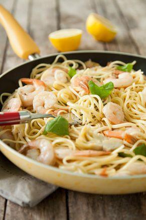Paula Deen Shrimp Scampi with Artichokes and Basil