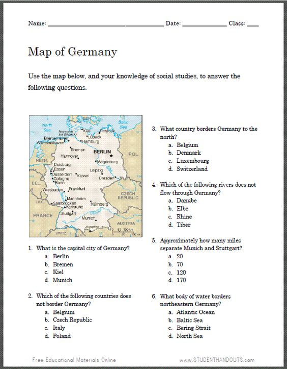 Student Handouts Worksheets : German map worksheet for kids student handouts social
