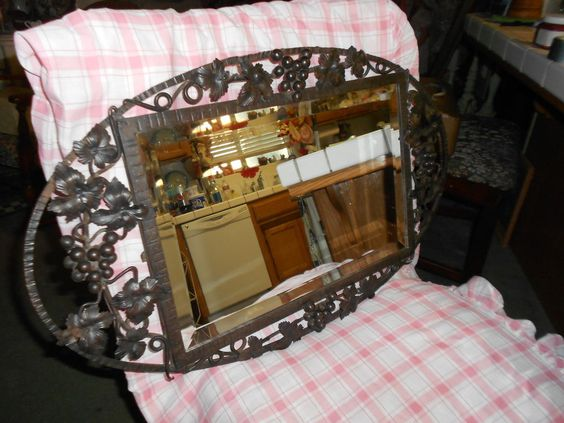 Vtg 1930's? Shabby French Chic Rare Hammered Wrought Iron Beveled Mirror #Unbranded #FrenchCountry