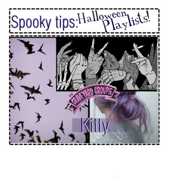 """★ spooky tips:  Halloween playlist!//kitty★"" by outcast-tips ❤ liked on Polyvore featuring art, playlist, Slayingset, Annaot and spookytips"