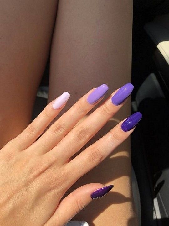 73 Most Eye Catching Different Color Coffin Nails For Prom And Wedding Page 8 Of 73 Diaro In 2020 Purple Nails Cute Acrylic Nails Pretty Acrylic Nails