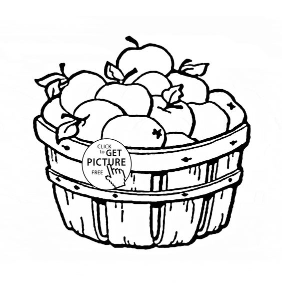 Apple Basket fruit coloring page for kids, fruits coloring pages ...