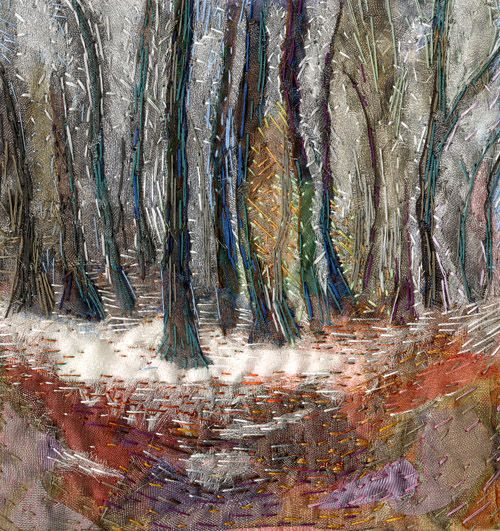 'First Fall' an original hand embroidered textile by Rachel Wright. The morning light dappled through the trees reveals the first snow fall of winter.