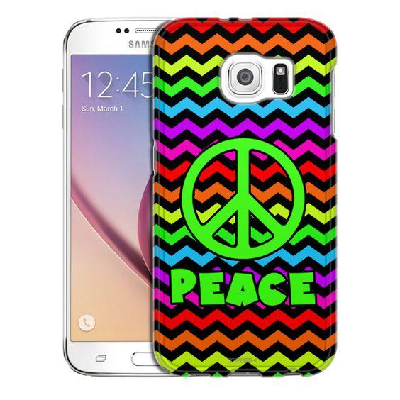 Samsung Galaxy S6 Peace on Chevron Rainbow Black Slim Case