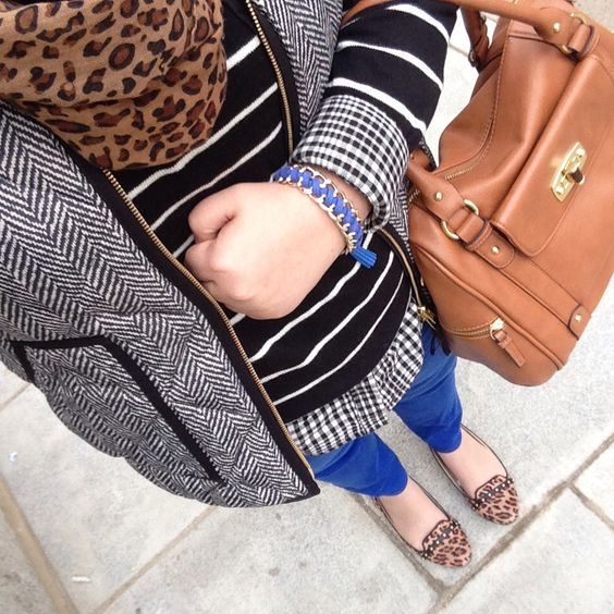 Fall fashion, herringbone vest with leopard