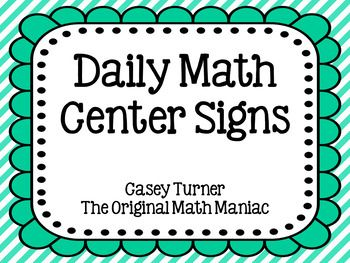 FREE Daily Math Center Signs EDITABLE