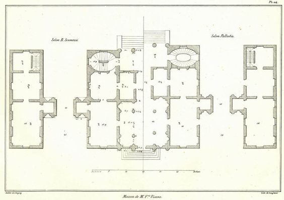 Villa pisano floor plan 1842 palladio scamozzi for Palladian house plans