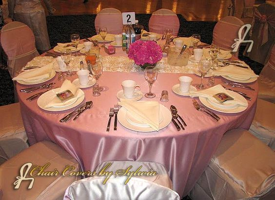 Chicago Table Linens for Rental in Dusty Rose in the Lamour/Satin Fabric