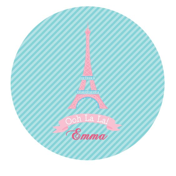 Personalized Eiffel Tower Kids Melamine Plate Gift