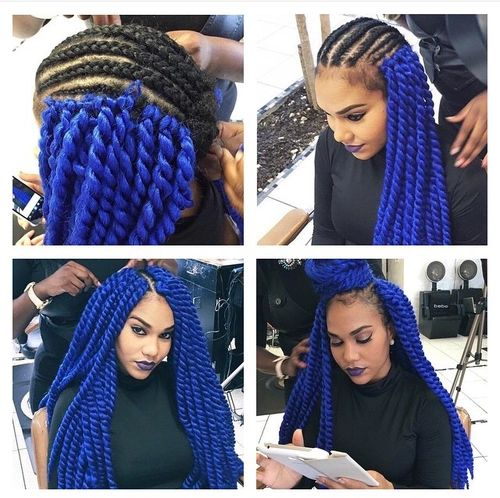Black And Blue Box Braids Google Search Hair