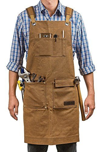 Adjustable Unisex Tool Apron Black Heavy Duty Shop Apron for Woodworking