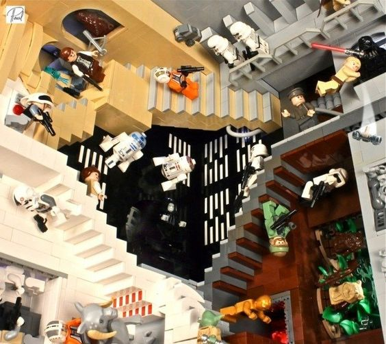 "Star Wars + Escher + LEGO = Nerd Nirvana  Vermeesch crafted a one-foot-by-one-foot block modeled after M.C. Escher's ""Relativity."" But Vermeesch gave his an awesome ""Star Wars"" theme. It's amazing. It's crazy. Forgive us, we're babbling. Behold ""Star Wars Relativity V2!"""