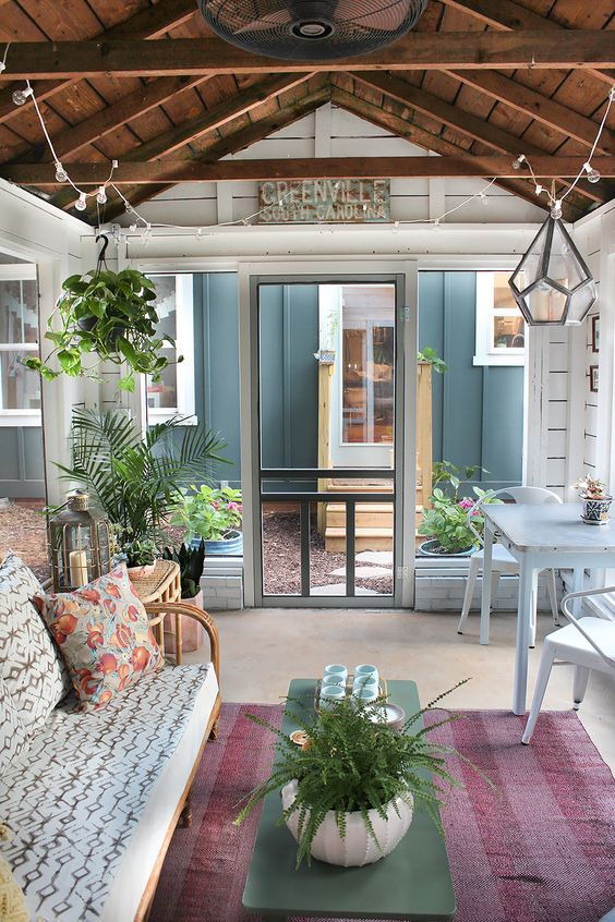 Shed turned boho screened porch modern farmhouse Shed with screened porch