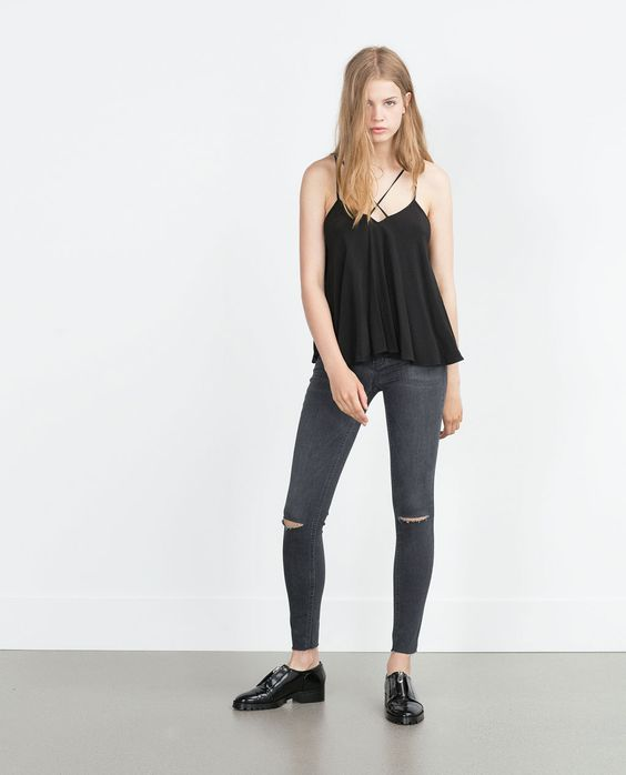 TOP WITH CROSSOVER STRAPS - View all - Tops - WOMAN | ZARA Turkey 89.95tl