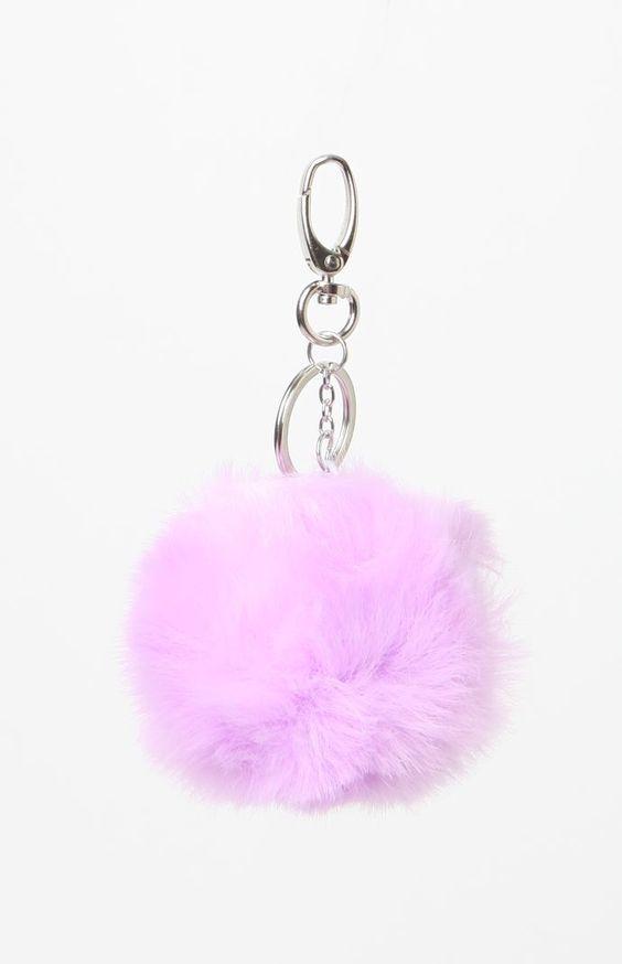 Lavender Faux Fur Pom-Pom Keychain
