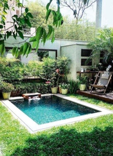 53 Amazing Backyard Landscaping Ideas With Minimalist Swimming Pool For Your Home Home Garden Backyard Pool Designs Small Pool Design Small Backyard Pools