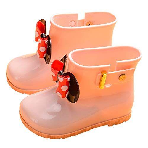 Infant Rain Boots Children Rain Shoes,Kids Cute Dot Bowknot Waterproof Warm Boots