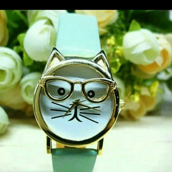 Fashion Watch ~ Cat Face with Glasses Whimsical  Cute  Aqua Leather Like Band  Cat Face With Glasses  Fashion Watch Accessories Watches