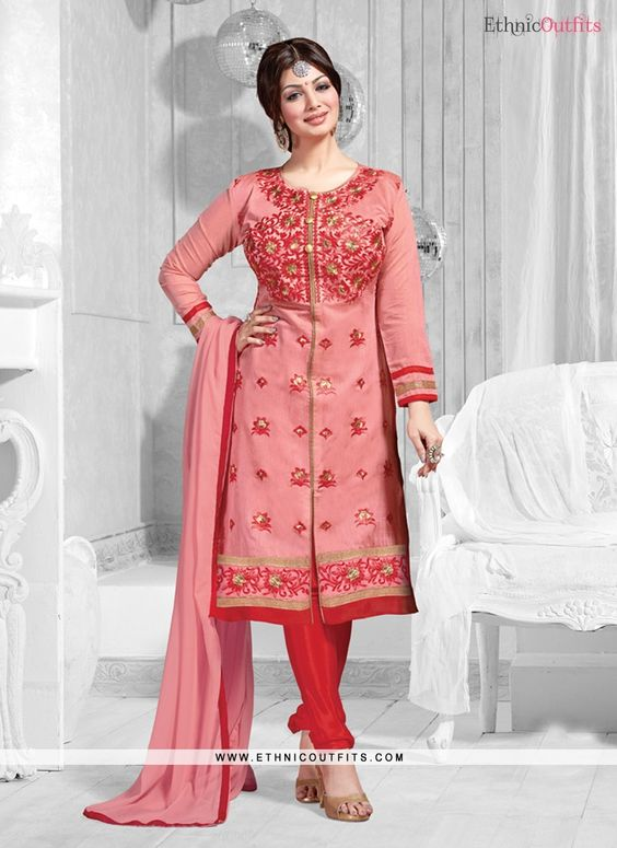 Ayesha Takia Peach and Red Chanderi Designer Suit   Email  - support@ethnicoutfits.com Call - +918140714515 What's app/Viber- +918141377746