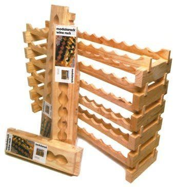 """Wine Rack - Modular 72 Bottle (12 across) (Pine) (33""""h x 47.5""""w x 11.75""""d) by Wine Appreciation. $175.00. Unfinished wood allows you the option to paint or varnish in order to match any decor.. Manufactured from plantation grown Australian Pine, a hardwood that will not dent, yellow, or fade.. Color: Pine. Size: 33""""h x 47.5""""w x 11.75""""d. No tools required - pieces simply fit together.. This 72 Bottle (12 across) modular wine rack is manufactured from plantation gro..."""