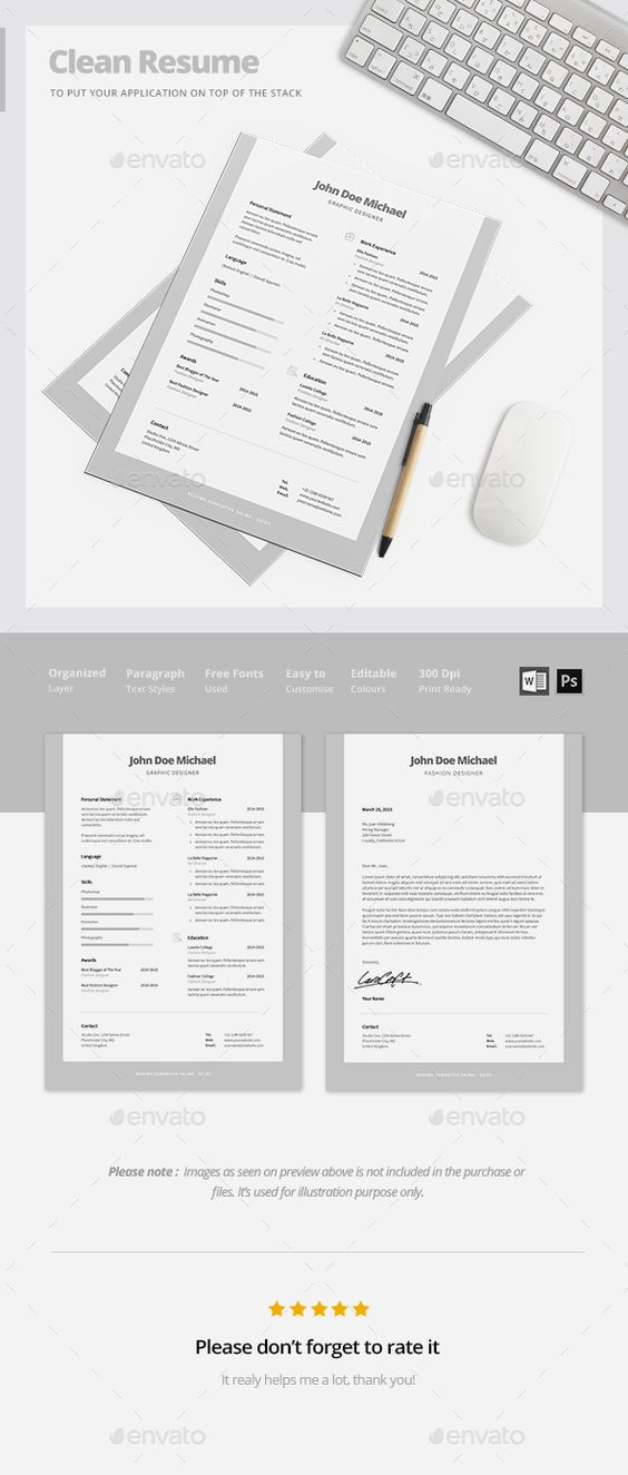 Resume Template - Cassiopeia by@Graphicsauthor Resume CV - clean resume design