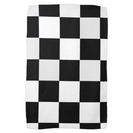 Black And White Checkered Towel Zazzle Com Black White Black Kitchens Towel