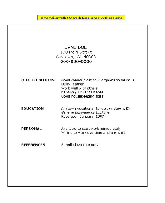 Resume For Homemaker With No Work Experience | Job Search