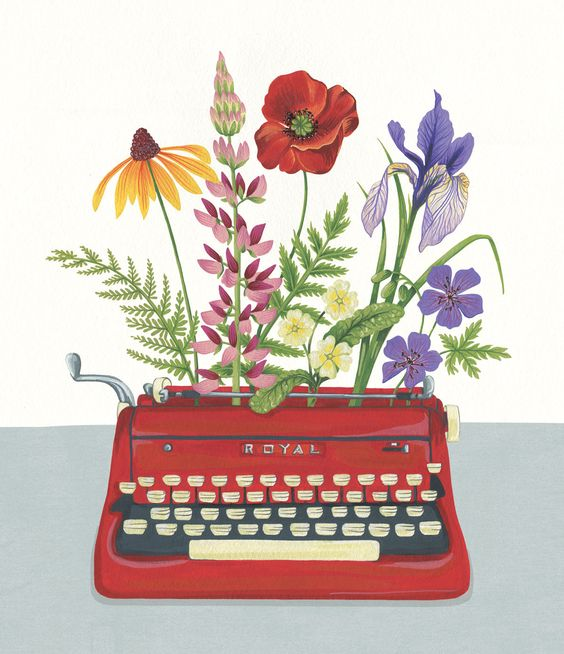 This design is very creative and cute.  I love the color choice of the type writer because it is bold and works well with the  bouquet.  I love vintage things like this so this makes me smile.  I like how the background is white so the typewriter bouquet is the center of this design.: