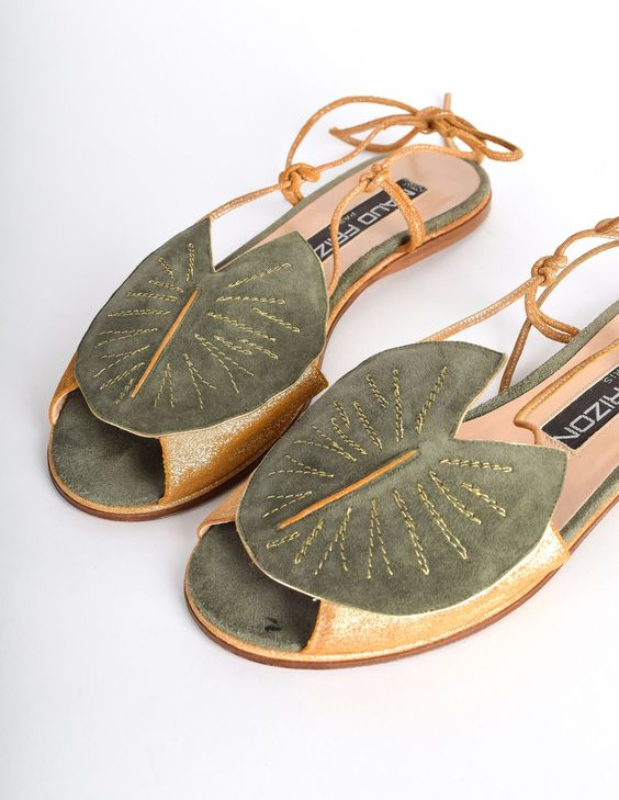 Maud Frizon Vintage Gold Leather & Green Suede Lily Pad Sandals: