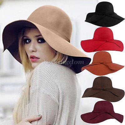 Ladies Women Soft Wool Felt Fedora Floppy Cloche Wide Brim Bowknot Hat Cap