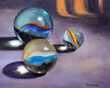 8x10 FINE ART PRINT of Three Marbles Painting by VickieSueCheek, $20.00