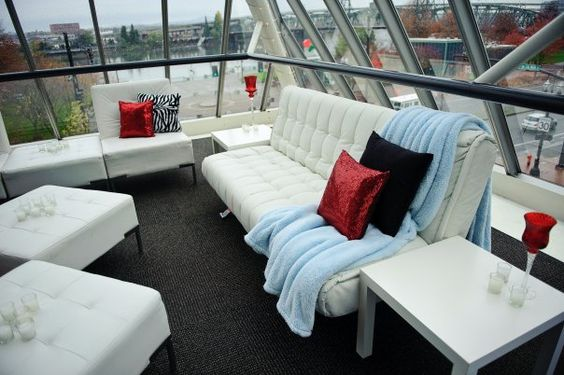 Our white leather wedding lounge with accents of red and baby blue! Provided by West Coast Event Productions Portland, Oregon