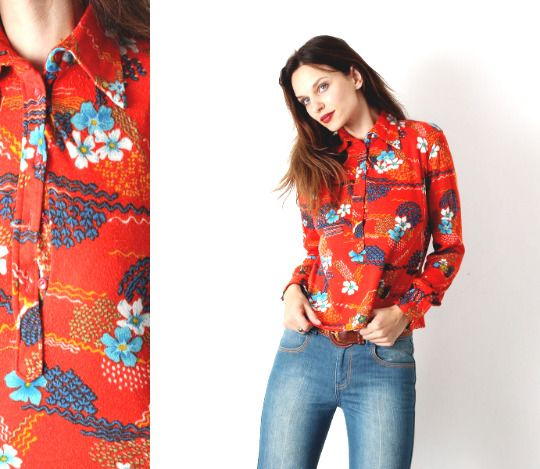 70/'s vintage women/'s boho hippie beige flower patterned shirt blouse