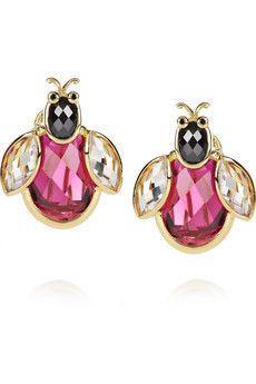 Kenneth Jay Lane   18-karat gold-plated cubic zirconia ladybug earrings   NET-A-PORTER.COM