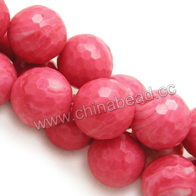 Gemstone Beads, Red Vein Jade, Faceted round, Approx 20mm, Hole: Approx 1.2mm, 20pcs per strand, Sold by strands