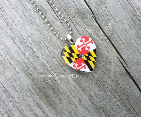 Maryland Flag Necklace Maryland Jewelry Baltimore By