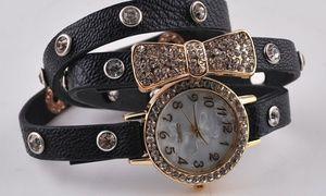 Groupon - 9,99 $  pour une montre à quartz sertie de cristaux et plaquée en or 18 kt (livraison incluse), 75 % de rabais à [missing {{location}} value]. Prix Groupon : 9,99$