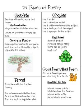 different types of poems Poets can choose from a variety of different rhyming patterns (see next four  slides for  there are many forms of poetry including the: 29 lines and stanzas.