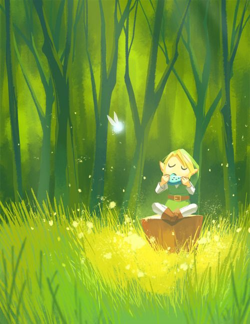Art Inspired By The Legend Of Zelda Ocarina Of Time Forest Melody By Taupish Zelda Art Legend Of Zelda Ocarina Of Time