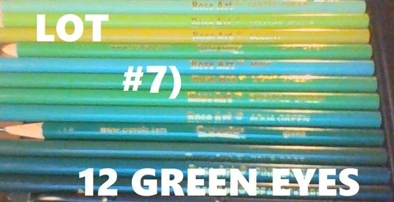COLOR PENCILS LOT#7: 12 GREEN EYES! CRAYOLA ROSE ART BRANDS